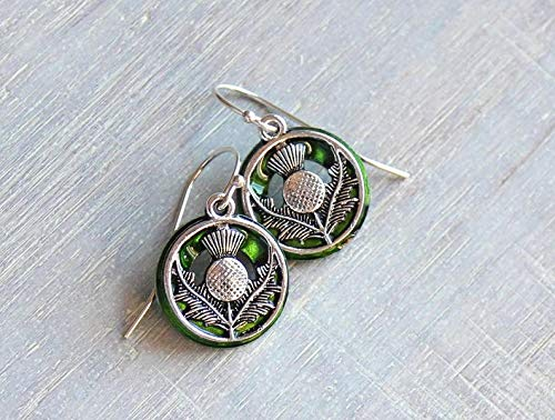 Thistle Scottish Jewellery (Green Scottish thistle earrings sterling silver ear wire)