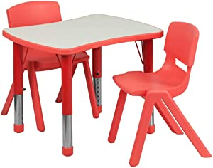 Flash Furniture 21.875''W x 26.625''L Rectangular Red Plastic Height Adjustable Activity Table Set with 2 Chairs