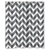 "60""(w) x 72""(h) Hot Sale Grey and White Chevron Zigzag Zig Zag Pattern Theme Picture 100% Polyester Bathroom Shower Curtain Shower Rings Included"