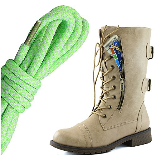 Dailyshoes Mujeres Military Lace Up Buckle Combat Botas Mid Knee High Exclusivo Bolsillo De La Tarjeta De Crédito, Lima Blanco Coqueto Beige