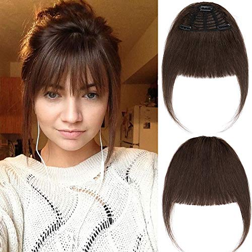 New Fashion Clip in Bangs One Piece Fringe 100% Natural Remy Human Hair Extensions Hairpiece Neat Fringe Hand Tied Thick Straight Bangs with Temple Hair Piece Accessories for Girls (Medium Brown)