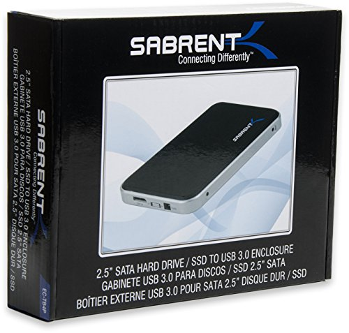 Sabrent USB 3.0 To 2.5-Inch SATA Hard Drive Enclosure Case (for 9.5mm, 12.5mm 2.5-Inch SATA-I, SATA-II, HDD and SSD) Black (EC-TB4P)