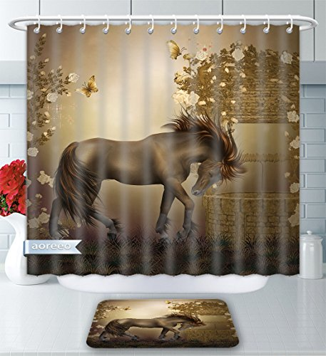 (Aoreeo Bathroom Two-Piece Set Mystic House Decor Collection Horse in Roses Garden Butterflies Fantasy Moonlight Romantic Artistic Illustrat Shower Curtain Bath Rug Set, 71