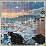 Wailea Makena Beach Maui Hawaii Beautiful Sunset Home Polyester Shower Curtain Waterproof Bathroom Decor Sets With Hooks 60x72 Inch
