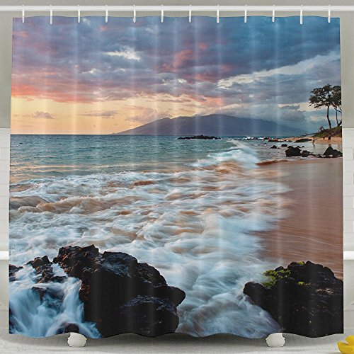 Wailea Makena Beach Maui Hawaii Beautiful Sunset Home Polyester Shower Curtain Waterproof Bathroom Decor Sets With Hooks 60x72 Inch by FaceTi