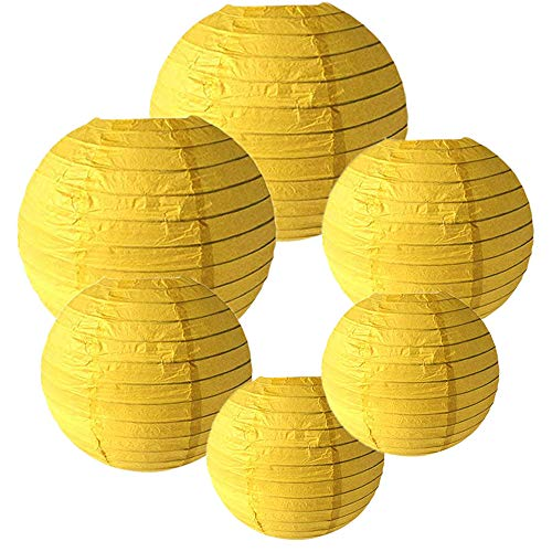 E-MANIS 6 Packs Round Paper Lanterns with Assorted Sizes for Wedding Party Decorations (Yellow) ()