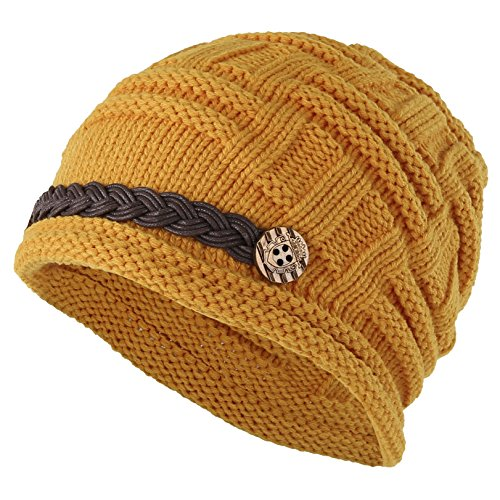 Women Winter Beanie Cabled Checker Pattern Knit Hat Button Strap Cap Yellow
