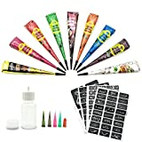 Henna Tattoo-Henna Tattoos Kits-9 Color Temporary Henna Tattoos Paste Cone with 107 Pcs Henna Template Set,1 x Applicator Bottle and 5 x Plastic Nozzle