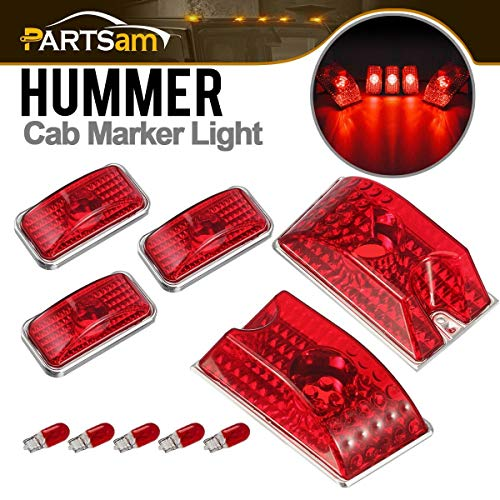Partsam 5pcs 264160R Red Lens Cab Marker Roof Running Top Crystal Chrome Lights w/5xT10 194 168 W5W 2825 Red Halogen Bulbs Compatible with Hummer H2 SUV SUT 2003-2009 Waterproof