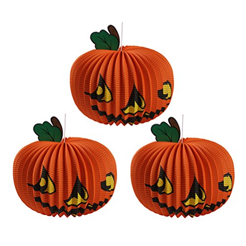 OULII Pumpkin Lanterns Halloween Paper Lanterns Three-dimensional Spooky Large Pumpkin Decoration 3pcs (Diy Halloween Lanterns)