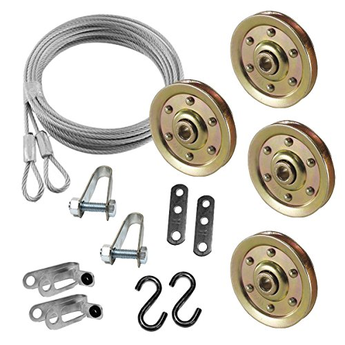 Extra Heavy Duty Garage Door Pulley 3 Inch & Safety Cable Complete Set for Ext - Kit Ext Cable