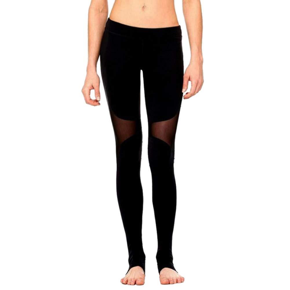 SMNYJK Schwarz Sexy Frauen Mesh Leggings Hohe Taille Hosen Elastische Fitness Workout Patchwork Laufbekleidung Stretch Yoga Hosen