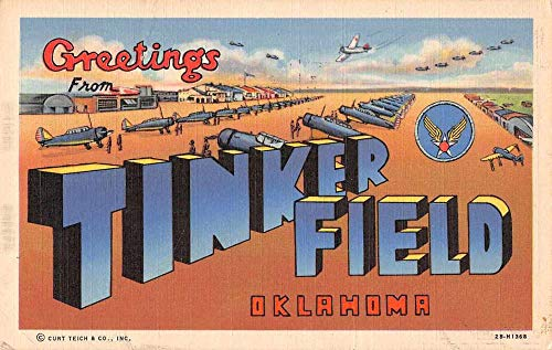 Tinker Field Oklahoma Greetings Large Letter Military Postcard JJ649871