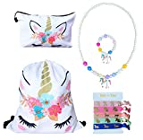 Unicorn Gifts for Girls – Unicorn Drawstring Backpack/Makeup Bag/Chunky Bubblegum Bracelet/Necklace/Hair Ties (White Flower Unicorn) For Sale