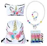 Unicorn Gifts for Girls – Unicorn Drawstring Backpack/Makeup Bag/Chunky Bubblegum Bracelet/Necklace/Hair Ties (White Flower Unicorn) For Sale