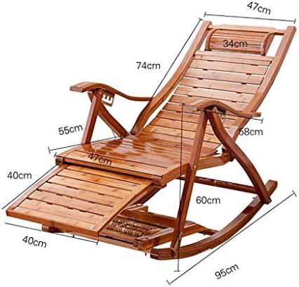 shcc Chaises À Bascule De Camping pour Adultes Fauteuil Pliant Chaises Longues en Bois De Bambou Pont Inclinable Relaxant Max.250 Kg
