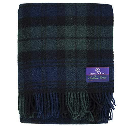 (Prince of Scots Highland Tartan Tweed 100% Pure New Wool Throw (Black Watch) )