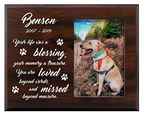 Mainely Urns Personalized Pet Memorial Picture Frame - Your Life was A Blessing, Your Memory A Treasure - Sympathy Dog or Cat Gift with Heartfelt Quote - 8x10 Photo Plaque