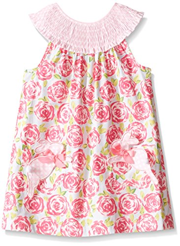 (Mud Pie Baby Girls' Sleeveless Smocked Neckline Sun Dress, Pink Flowers/Bunny, 0-6 Months)