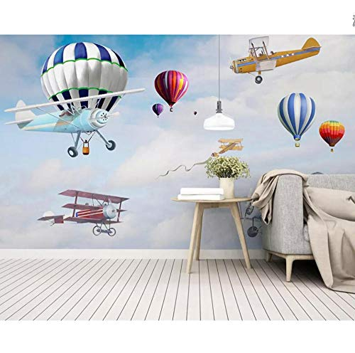 - Mural Custom Wallpaper Nordic Minimalist Hand-Painted Cartoon Airplane Balloon Children's Room Background Wall 3D Wallpaper 280x200cm