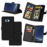 galaxy s ii cover - IVY Wallet Galaxy S8 Plus Case with Kickstand Feature and Matte Texture Design For Samsung Galaxy S 8 Plus SM-G955 PU Leathet Flip Cover [9 Card Slot Holder][2 Photo Album] Magnetic Closure - Black