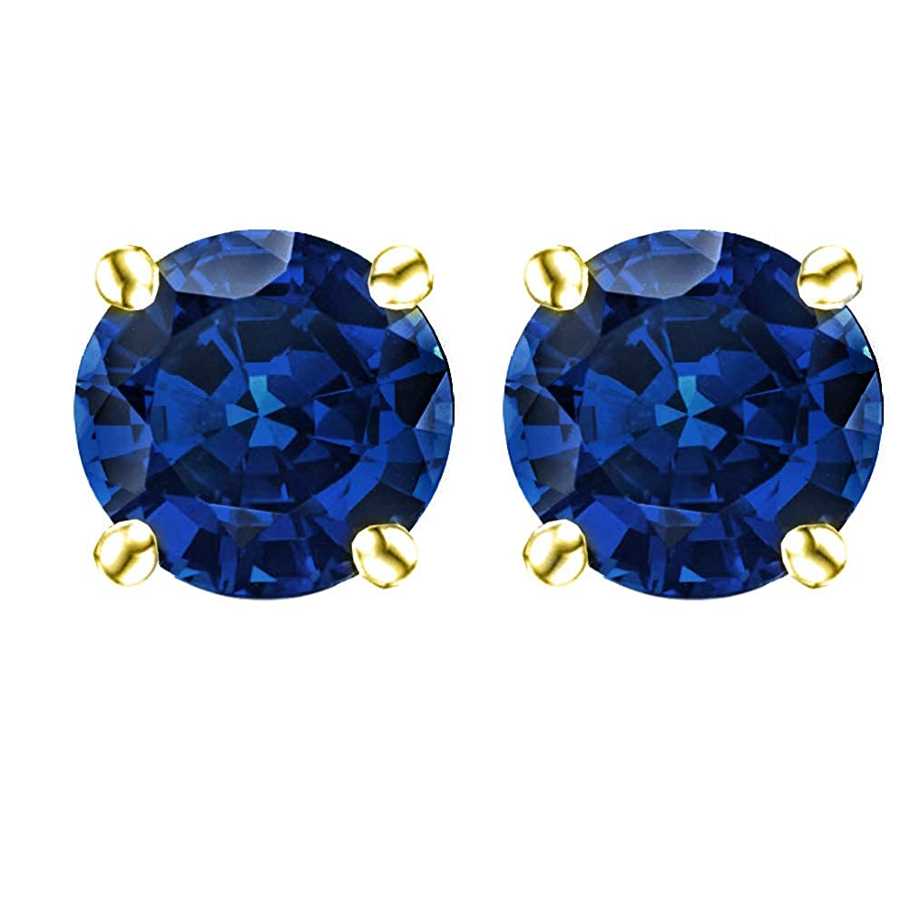 14k Gold Butterfly Backings /& Gold Overlay Sterling Silver Basket Settings Round Cubic Zirconia Simulated Sapphire Stud Earrings 1.50ctw