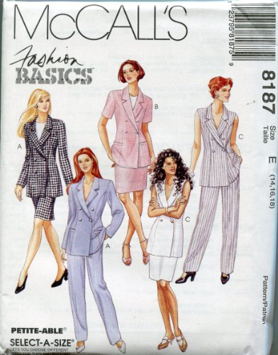 McCall's Pattern 8187 ~ Fashion Basics Misses' Lined Jacket, Skirt & Pants ~ Select-A-Size 14-16-18 - Mccalls Fashion