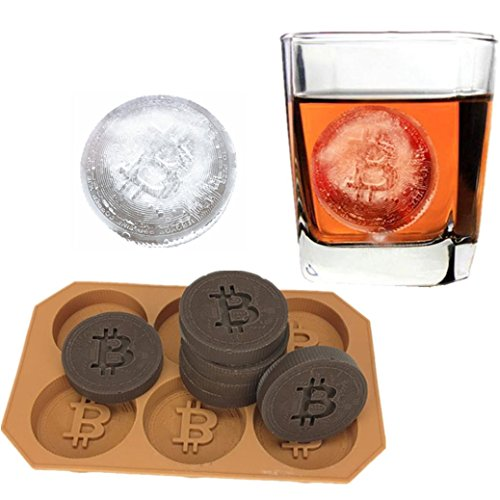 (Kecar 3D Bitcoin Shape Ice Cube Mold Silicone Maker Tray Jelly Chocolate Mold, Suitable For Bar Party Cocktail Whiskey)