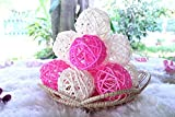 Christmas Gift : Natural Small Wicker Balls With Two Tone Color Pink And White For DIY Vase And Bowl Filler Ornament, Decorative Spheres Balls Perfect For Decoration And Party 2-2.5 inch 12 Pcs.