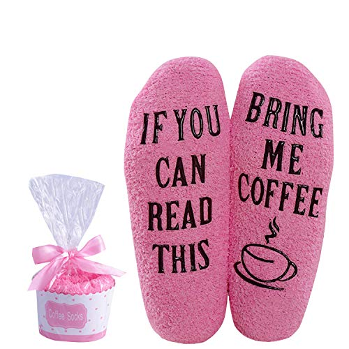 Wine Coffee Fuzzy Socks For Women Wine Gift Funny Novelty IF YOU CAN READ THIS Socks (Coffee-pink)
