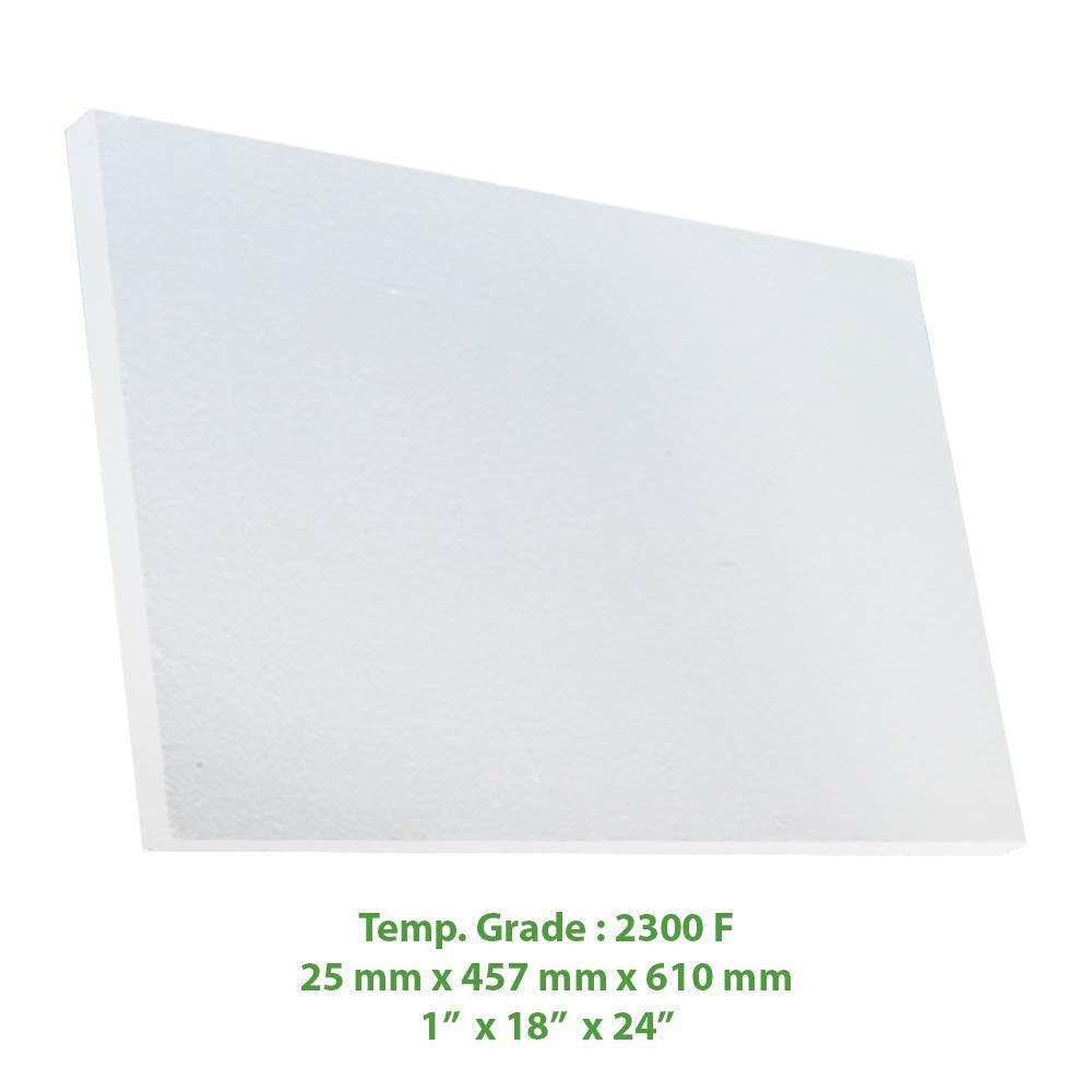 Ceramic Fiber Insulation Board (2300 F) (1'' X 18'' X 24'') for Thermal Insulation in Wood Stoves, Fireplaces, Pizza Ovens, Kilns, Forges & More.