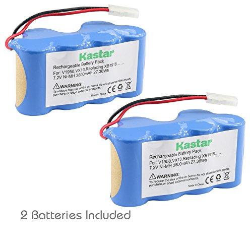 Kastar V1950 Battery (2 Pack), Ni-MH 7.2V 3800mAh, Replacement for Euro-Pro Shark Vacuum V1950 VX3 Replacing XB1918