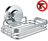 #9: HOME SO Soap Dish with Suction Cup Holder – Bathroom Shower Caddy Tray Hanger for Soap bars, Sponges, Shampoo – Stainless Steel, Chrome