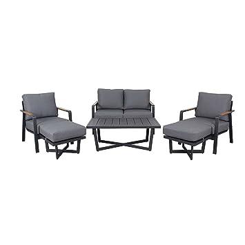 Fesselnd Loungemöbel Outdoor Calw Loungegruppe 6tlg Aluminium/Polyester Gartenmöbel  Design Gartenlounge Modern Wetterfest
