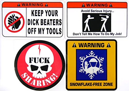 STICKER 4 PACK (1) Keep Your Dick Beaters Off My Tools (1) Don't Tell Me How To Do My Job (1) Fuck Sharing Skull (1) Snowflake Free Zone 4 Pack by STKR Commander Toolbox Hardhat Bumper Stickers/Decals (Keep Your Dick Beater Off My Tools)