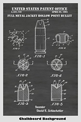 Full Metal Jacket Hollow Point Bullet Patent Print Art Poster: Choose From Multiple Size and Background Color Options -