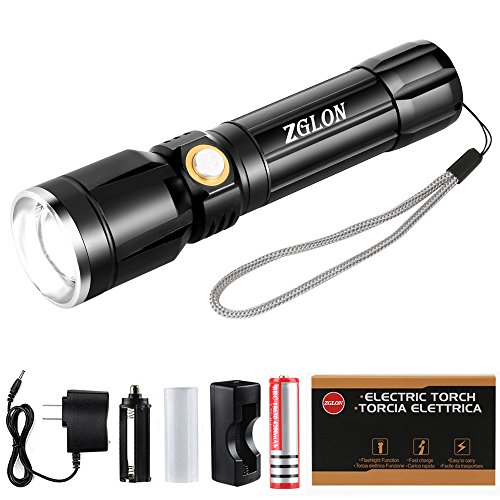 Zglon 1000 Lumen Tactical LED Handheld Flashlights Rechargeable Super Bright High Powered Waterproof Torch with 18650 Battery and Adjustable Zoomable 5 Light Modes