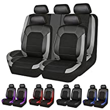 New Arrival- Car Pass leather and Mesh Universal Car Seat Covers,Airbag Compatible, perfect fit for Sedans, Trunkcs,Suvs (Full seat covers, Black and grey color)