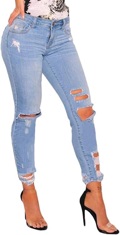 Junkai Mujer Vaqueros Mujer Cintura Alta Cintura Media Pantalones Raya Moda Elasticidad Mezclilla Pantalones S 3xl Amazon Es Ropa Y Accesorios
