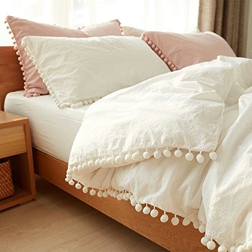 Meaning4 Pom poms Fringe Ivory Duvet Cover Off White Cotton Twin Size 68 x 90inches