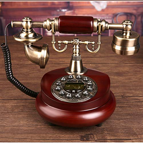 Hzpxsb Telephone Landline, Office Fixed Antique Retro Solid Wood Telephone