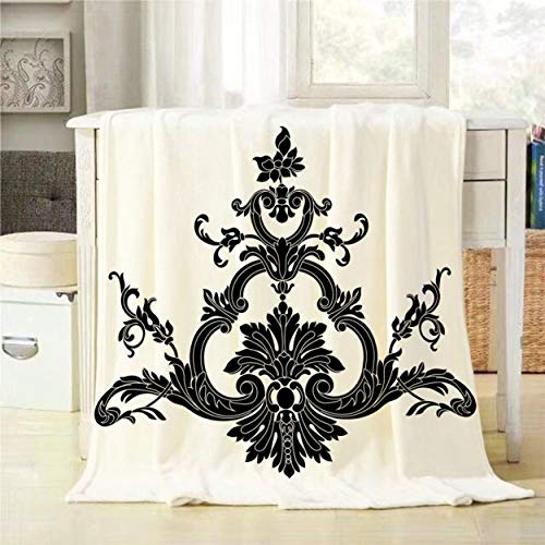 (Mugod Throw Blanket Vintage Baroque Ornament Pattern Antique Style Acanthus Decorative Soft Warm Cozy Flannel Plush Throws Blankets for Baby Toddler Dog Cat 30 X 40 Inch)