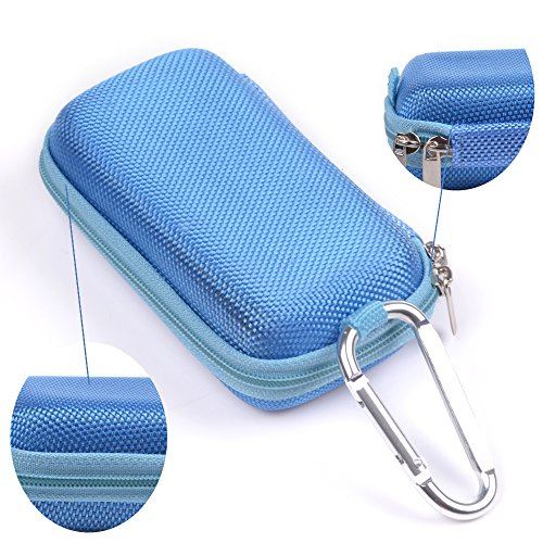 Case Star ® Rectangle-Shaped Hard EVA Case Bag and Silver Color Climbing Carabiner for Bose Bluetooth Headset Series 2 Earbuds iPod Shuffle with Mesh Pocket, Zipper Enclosure, and Durable Exterior wi