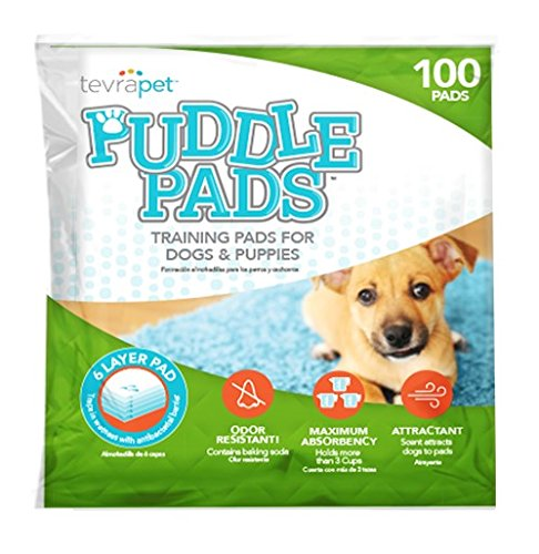 TevraPet Puddle Pads Housetraining Pads for Dogs, 100 - Puppy Housetraining Pads