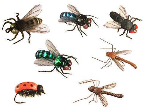 Cabin River Flies Ultra-Realistic Terrestrial Fishing Flies Assortment 12-Pack in Black, Blue, Green & Biting Fly, Ladybug, and Dark & Light Cranefly