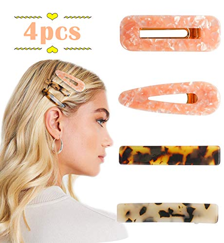 4pcs Acrylic Hair Clips Resin Glitter Fashion Geometric Alligator Barrettes Hairpins Accessories for Women Girls
