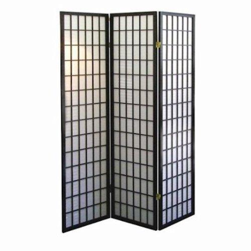 3-panel Room Screen Divider - Black - Three Panel Black Screen