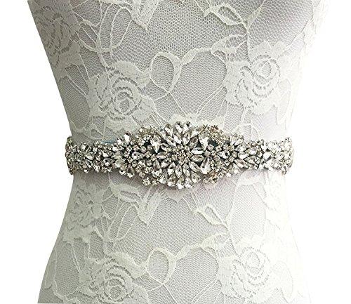 Sisjuly Rhinestone Crystal Sash Wedding Belt For Prom Party Evening Dresses (Belt Crystal Pink)