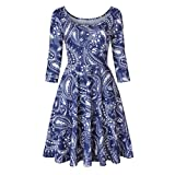 Vibola Dress Women, O-Neck Floral Printing Swing Dress (2XL, Blue)