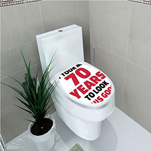 Toilet Cover Decoration,70th Birthday Decorations,Party Theme Motivational Quote Seventy Years Old,Dark Coral Black and White,3D Printing,W11.8